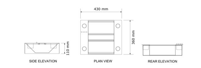 adio tray dimensions