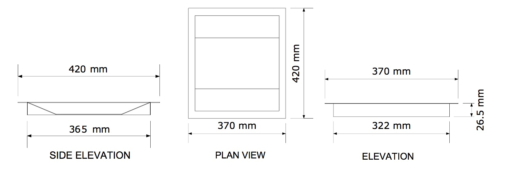 shallow cash and document tray dimensions