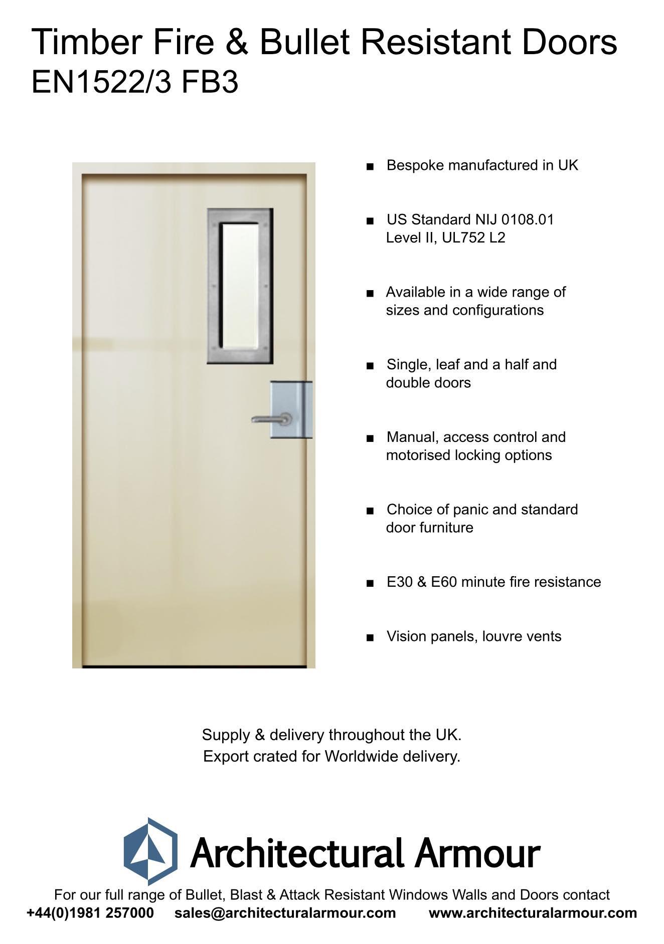 en1522/3 fb3 fire and bullet resistant door