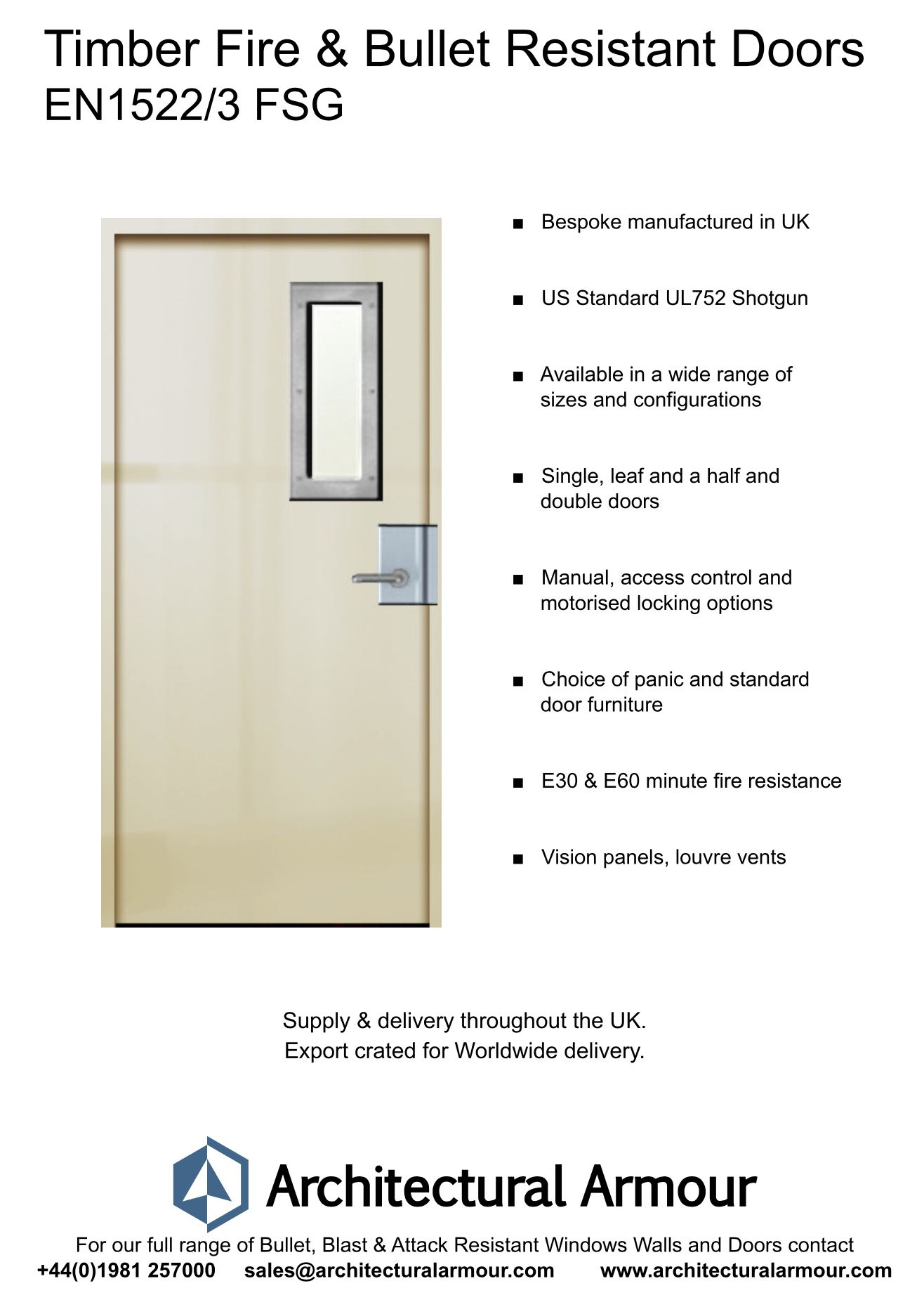 en1522/3 fsg timber fire and bullet resistant door