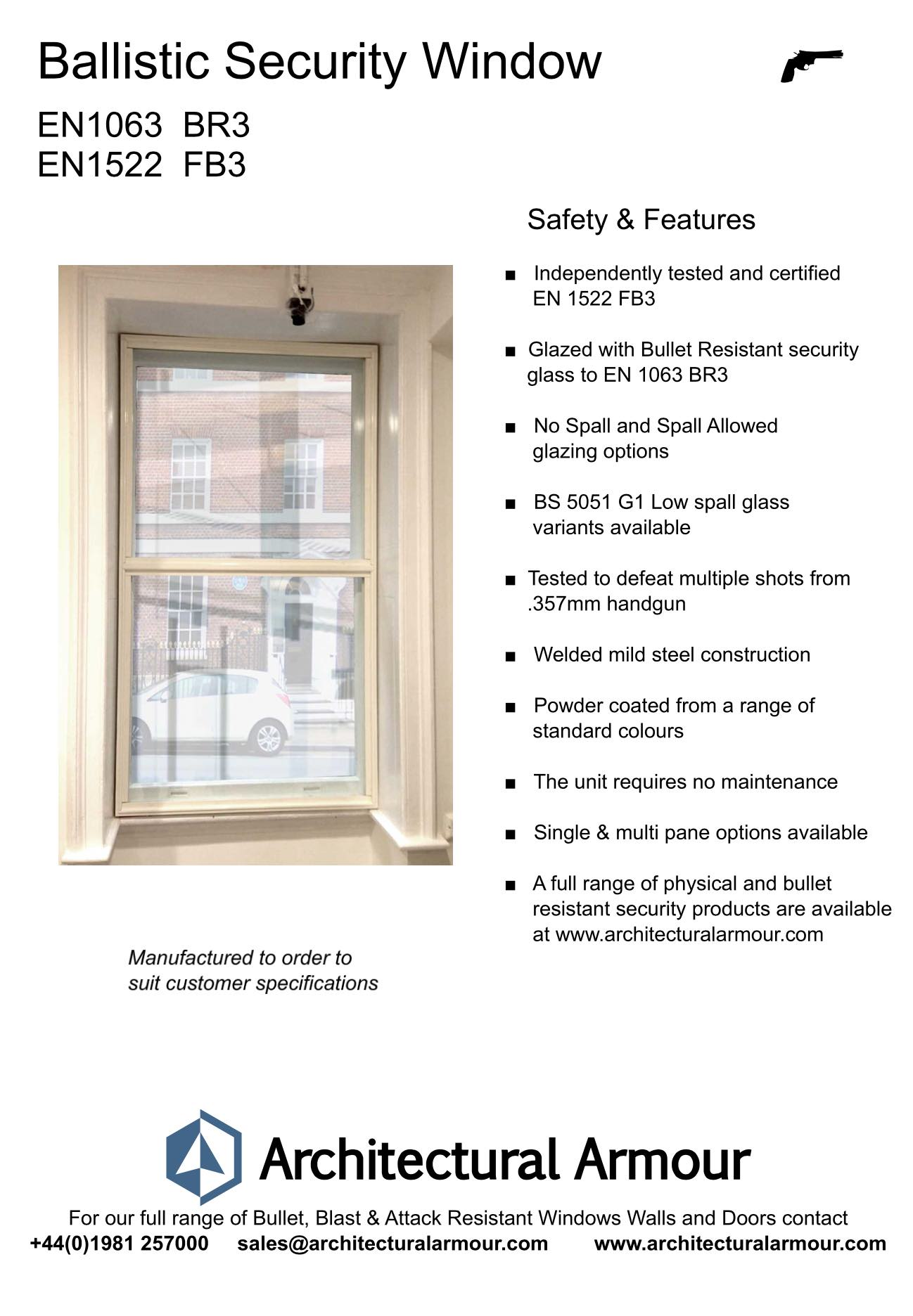 EN 1063 BR3 EN 1522 FB3 Bullet Resistant Window Image