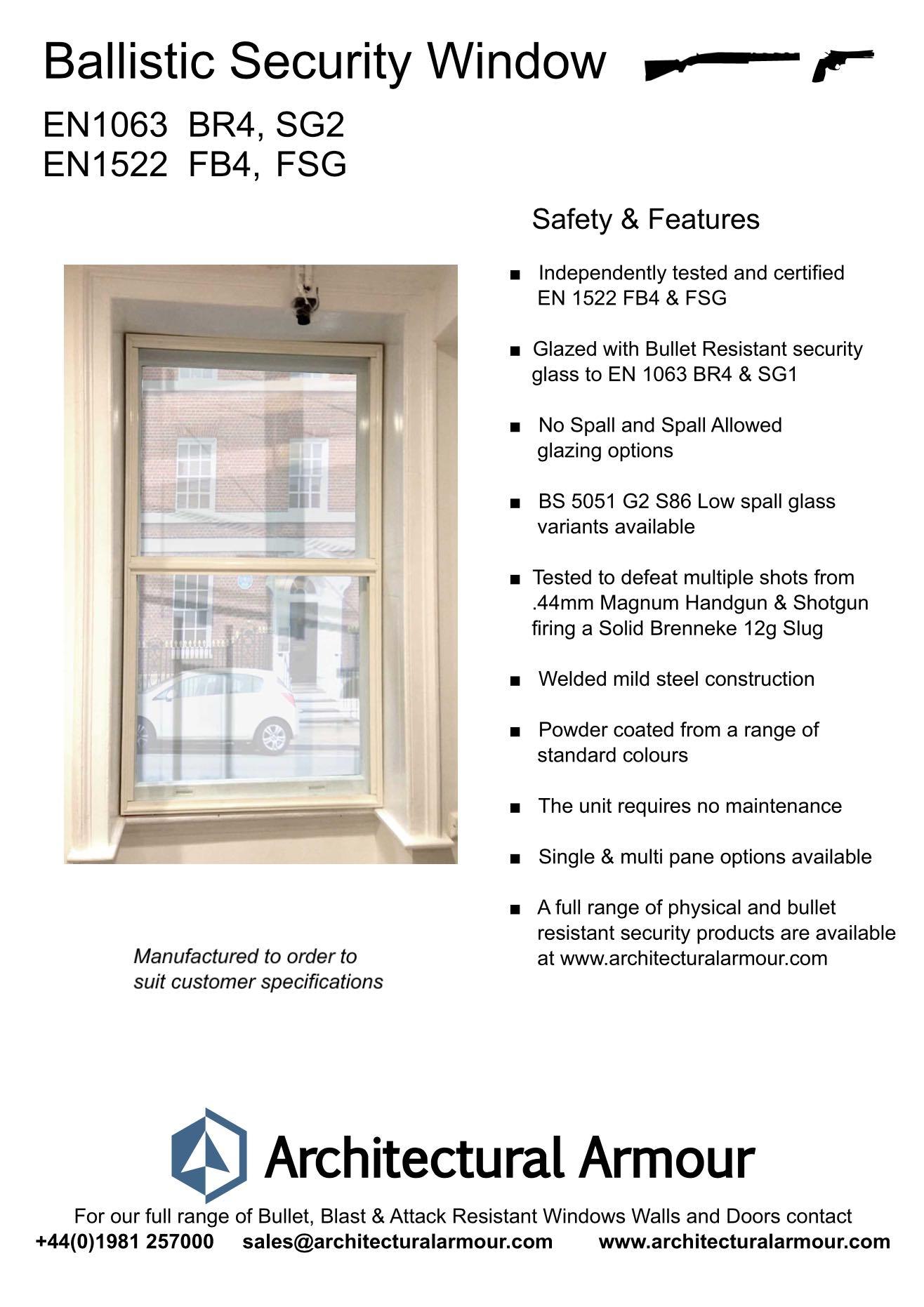 EN 1063 BR4 EN 1522 FB4 Bullet Resistant Window