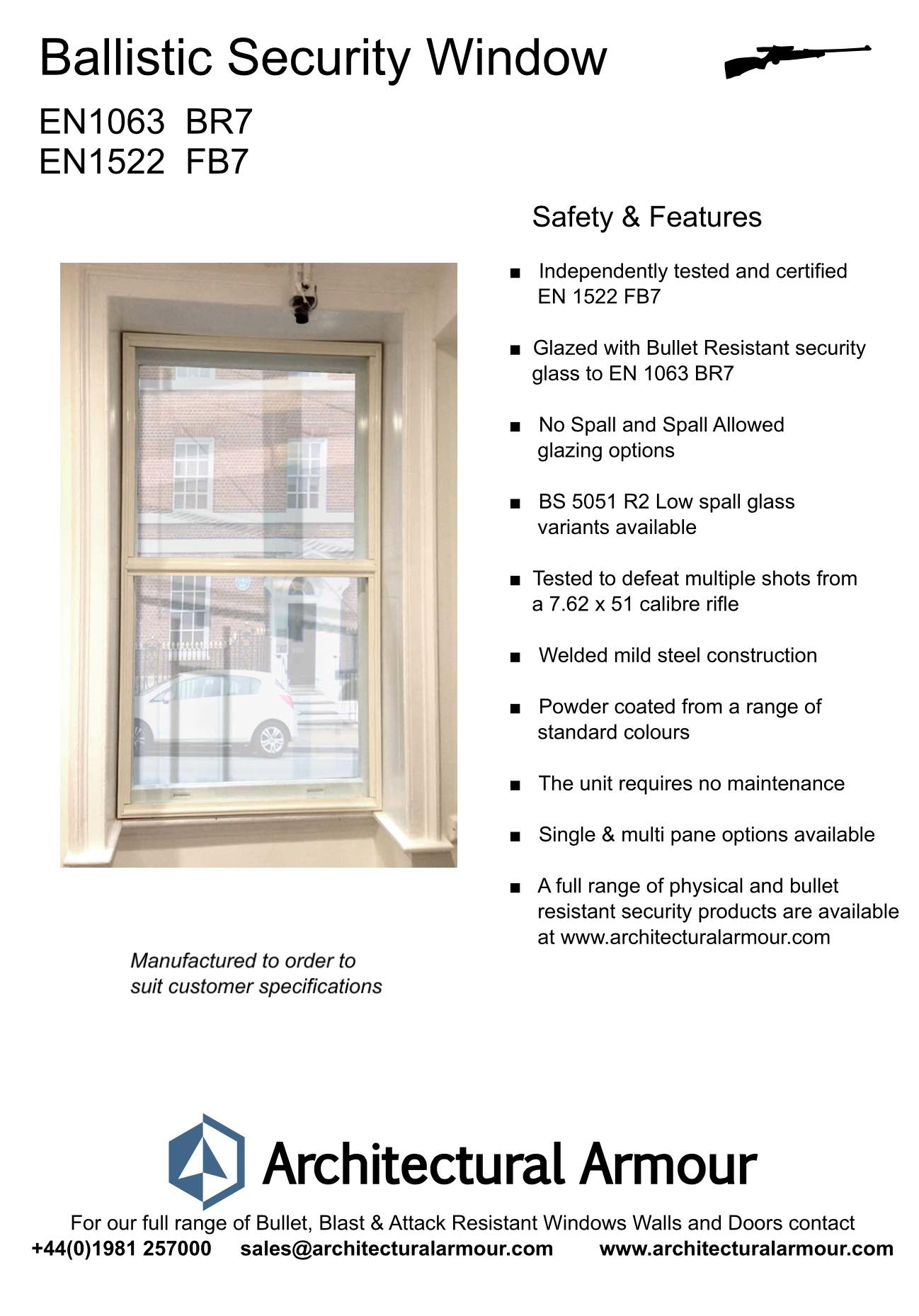 EN 1063 BR7 EN 1522 FB7 Bullet Resistant Window Image