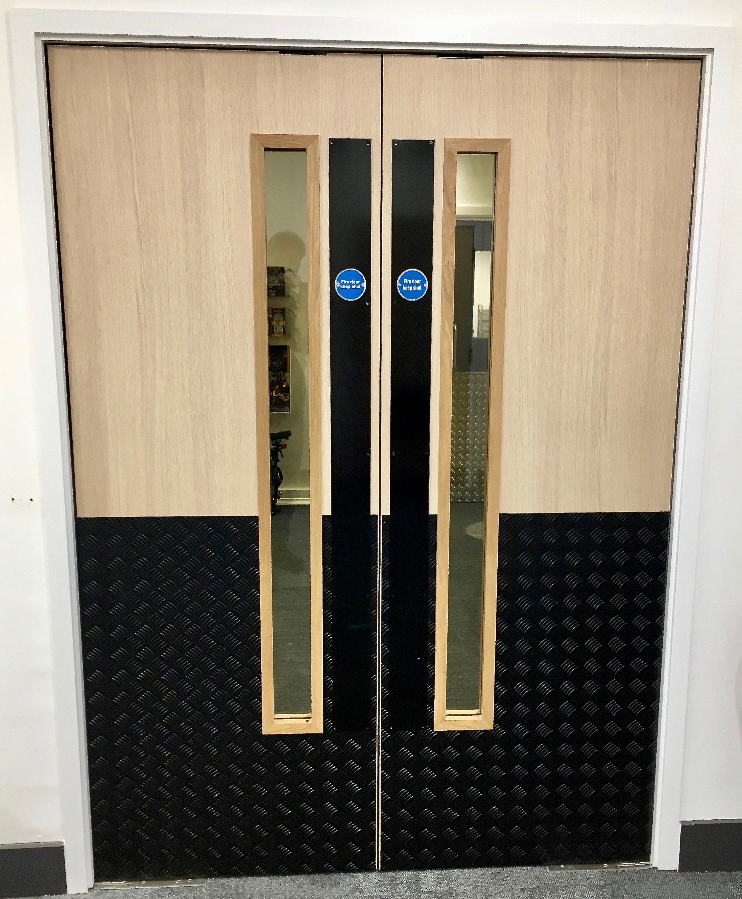 double fire door with vision panels