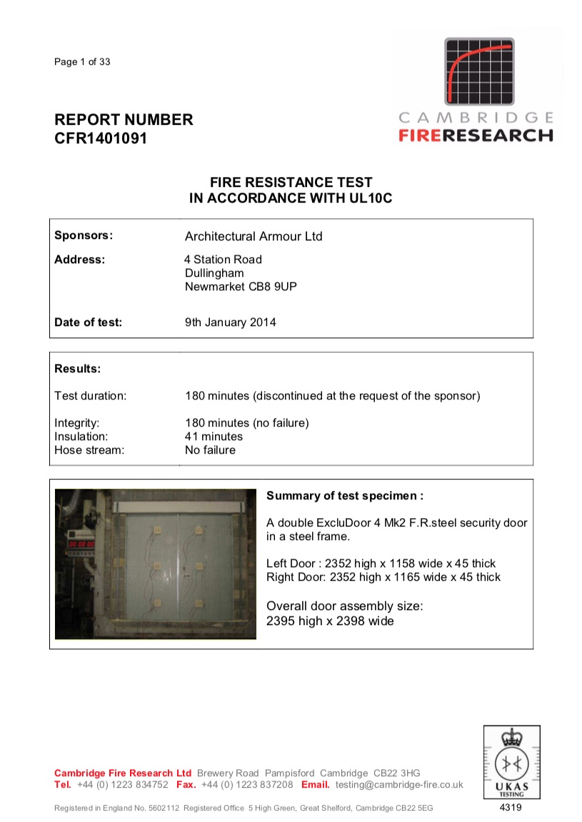 EN1522/3 FB4/LPS 1175 Level 4/UL 10C fire test report